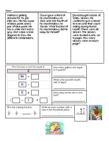 Math review worksheet 4th grade