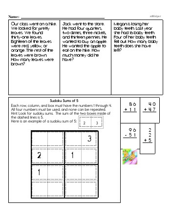 Free 1st grade math worksheets word problems